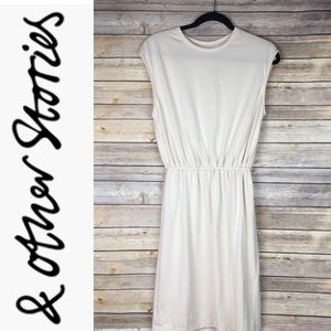 & Other Stories Grecian Pleated Dress in beige